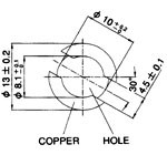 Recommended mount hole - PCB thickness 1.55 - 1.65