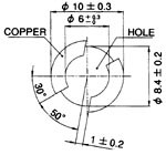 Recommended mount hole - PCB thickness 1.45 - 1.65